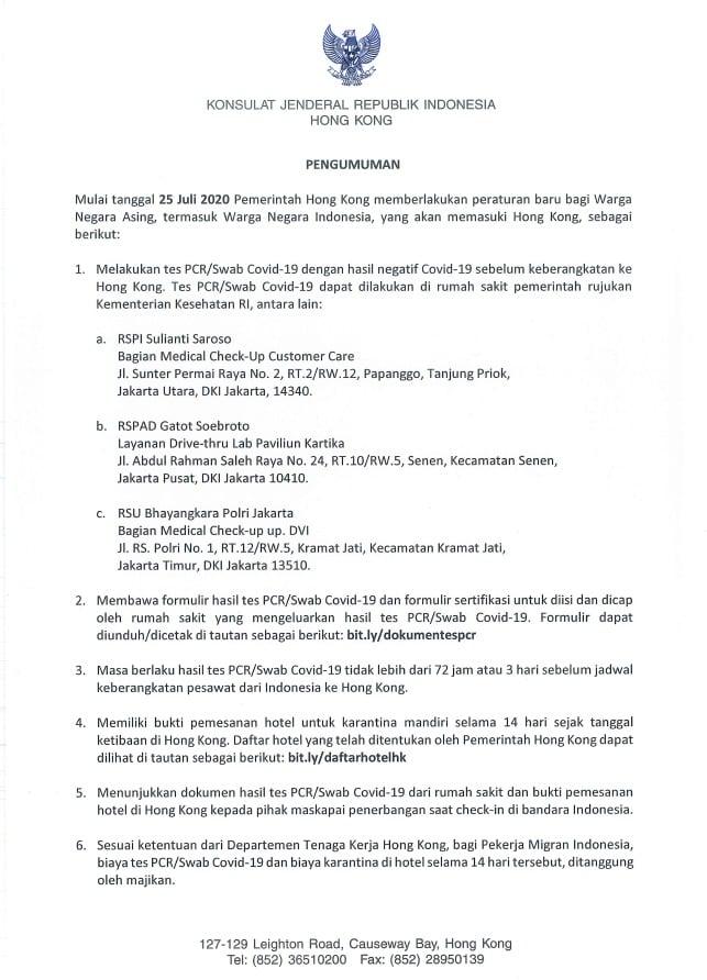 Mulai Tanggal 25 Juli 2020 Pemerintah Hong Kong Memberlakukan Peraturan Baru Bagi Warga Negara Asing