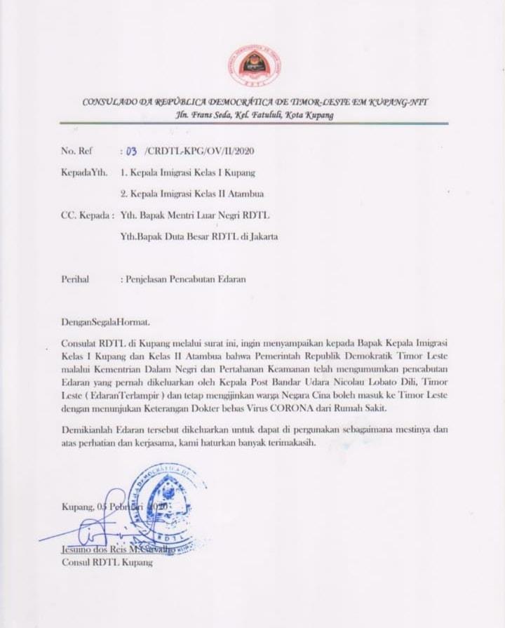 Surat Resmi Pencabutan Edaran Dari Kepala Bandar Udara Presidente Nicolao Lobato Dan Pemberian Ijin Masuk Wilayah Timor Leste Bagi Warga Negara Tiongkok Dengan Persyaratan Khusus