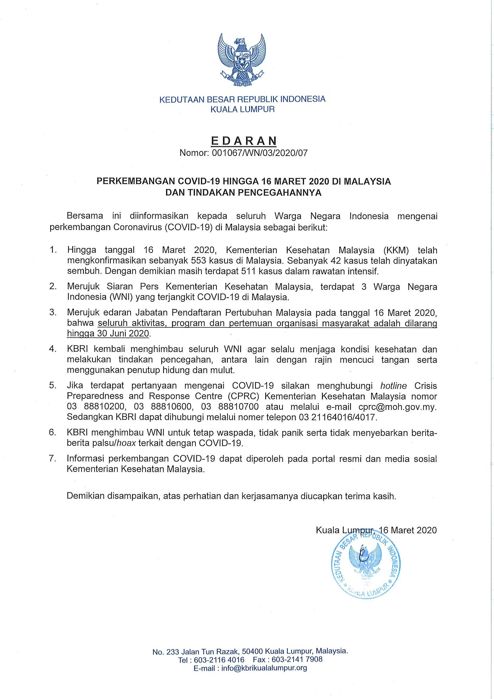 Perkembangan Covid 19 Hingga 16 Maret 2020 Di Malaysia Dan Tindakan Pencegahannya