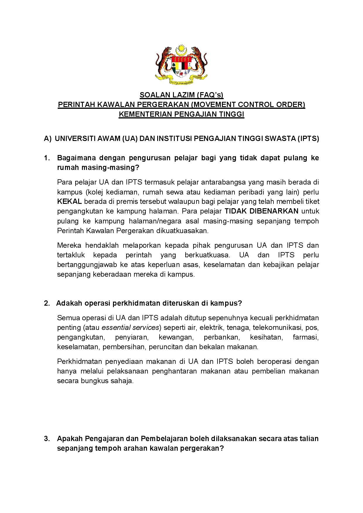 Informasi Penting Dari Kementerian Pengajian Tinggi Malaysia