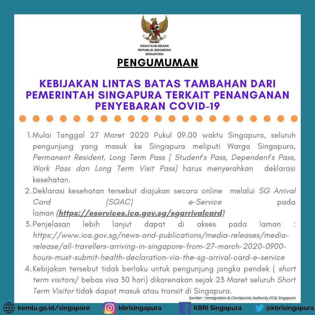 Update 24 Maret 2020 Kebijakan Lintas Batas Singapura Terkait Penanganan Penyebaran Covid 19